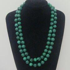 8MM 10mm 12mm Green Malachite Gemstone necklace 28-100 Inch AAA