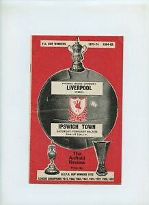 February 1975 Liverpool Reds Ipswich Town Blues Soccer Program
