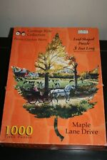 Vintg Maple Lane Drive Spilsbury Carriage Ride 1000 PC Jigsaw Puzzle Leaf Shaped