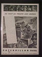 VINTAGE MILITARY CATERPILLAR BULLDOZER ARMY WAR PRINT AD ~ORIG ANTIQUE WWII 1943