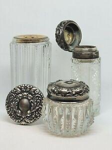 Lot of 3 Vintage Cut Glass Vanity Powder Dresser Jars with Sterling Silver Lid