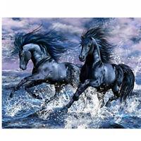 5D Full Drill Diamond Painting Cross Stitch Kits Embroidery Black Horses Decors