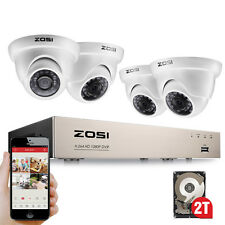 ZOSI 8CH 1080P HDMI DVR 2TB 2MP Outdoor Dome CCTV Home Security Camera System