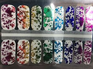 100% Nail Polish Strips/wrap Clear Witth Shiny Splash Of Color 🎨🖌️