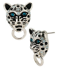 Betsey Johnson WHITEOUT Snow Leopard Door Knocker Silver-Tone Stud Earrings