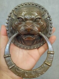 Antiques Old Fengshui Brass Expel the evil magical beast Statue Door knocker