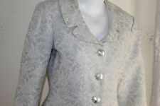 Neiman Marcus -Sz 10 Sophisticated Luxury Art Floral Gray Elegant Blazer Jacket