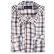 NWT Peter Millar Collection Dress Sport Shirt Mens S Multi Check Tan Blue $198