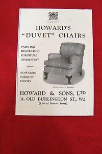 HOWARD & SONS DUVET CHAIR 1939 ORIGINAL VINTAGE ADVERT ADVERTISING