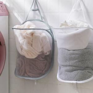 Foldable Mesh Laundry Basket Hamper Dirty Clothes Bag Hanging Storage Organizer