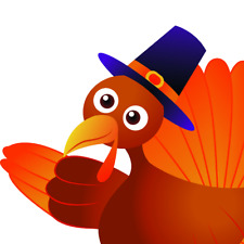 Waving Thanksgiving Turkey Window Cling