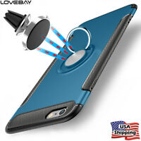 For iPhone X XS 8 7 6 6s 5 Case Cover Luxury With 360° Finger Ring Stand Holder