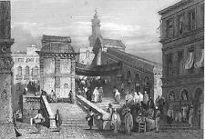Venice, Grand Canal RIALTO BRIDGE SHOPS PALACES ~ Old 1830 Art Print Engraving