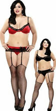 Magic Silk Plus 5X 6X Stretch Satin Bra G_String Garter Belt Set Holuday Red New