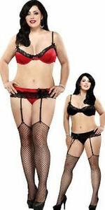 Magic Silk Plus 5X 6X Black Bra G-String Garter Belt Set Stretch Satin