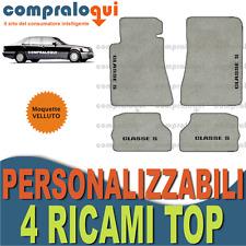 PER MERCEDES BENZ CLASSE S (W140) TAPPETINI AUTO in VELLUTO BEIGE + 4 RICAMI TOP