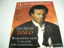 JULIO IGLESIAS his TANGO is #1 in Argetina for 12..weeks 1997 PROMO POSTER AD