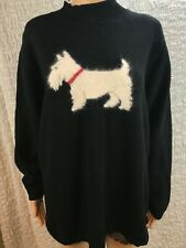 Coldwater Creek- Black Long Sleeve Sweater w/ Schnauzer Dog Graphic - Size 1X