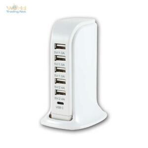 Mehrfach Schnell Netzteil USB 6-fach Ladegerät, 30W 6A Ladeadapter Ladestation