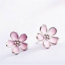 Enamel Gift Pink Elegant Cherry Blossom Flower Stud Earrings Earrings