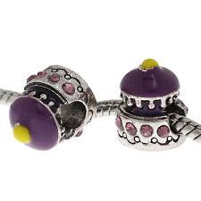 5 Perles Charms Grand Trou(4.7mm) Gâteau Strass Violet Pour Bracelet 14x12mm