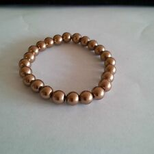 Glass Pearl Light Brown  Beaded Stretch Bracelet