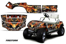 Yamaha Golf Cart Graphic Kit Wrap Parts AMR Racing Decal 1995-2006 FIRESTORM BLK