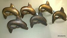 6 old look DOLPHIN handles aged solid Brass PULL knobs kitchens antiques 47 mm B