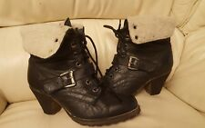 DUNE Nearly Black Leather Lace up Ankle Boots Sz UK 5 /EU38 VGC