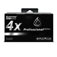 4x Eurotone Pro Ink Black For Epson Stylus Photo R-200 R-340 RX-600 RX-640