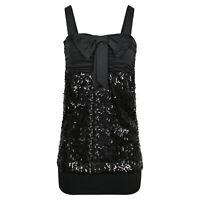 Damen Pailletten Long Top Minikleid Oberteil mit Schleife und Glitzer schwarz