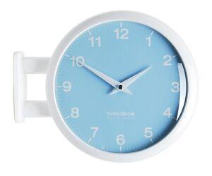 Modern Art Design Double Sided Wall Clock Station Clock Home Decor - MPastel(BL)
