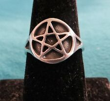 PENTACLE RING SIZE 9 PAGAN/WITCH/WICCAN/GOTH UNISEX PEWTER RING PENTAGRAM