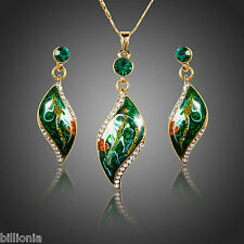 18ct Gold Plated Swarovski Elements Green Crystal Necklace Earring Jewellery Set
