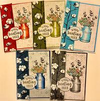 5 COUNTRY HOME Sending healing hugs STAMPIN Up Greeting Cards Kit Cotton Ribbon