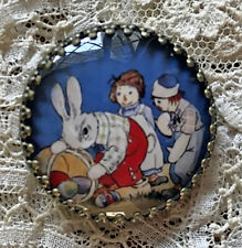 "RAGGEDY ANN ANDY and EASTER BUNNY Glass Dome BUTTON 1 1/4""  Vintage Card Art"