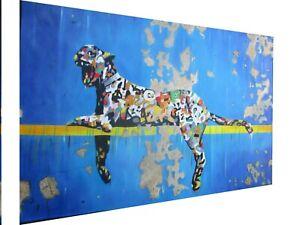 "canvas wall art decor street cat leopard banksy style print painting framed 30"""