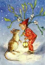 CHRISTMAS, ELF WITH MISTLETOE AND A MOUSE, FRIDGE MAGNET