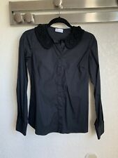 Red Valentino Lace Collar Black Button Down Long Sleeve Shirt, Size US 4 / IT 40