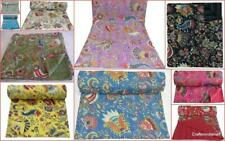 Reversible Blanket Stitched Indian Kantha Cotton Bedding Bedspread Throw Quilt