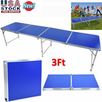 3 Foot Aluminum Alloy Beer Pong Table Desk Folding Outdoor Indoor Party Portable