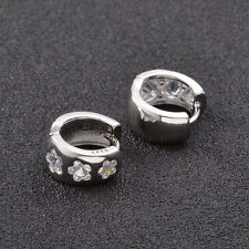 Shiny 925 Sterling Silver Plate Flower Shape Cubic Zirconia Huggie Hoop Earrings