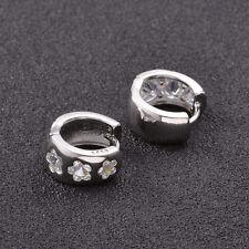 Shiny 925 Sterling Silver Plate Flower Shape Cubic Zirconia Huggie Hoop Earrings