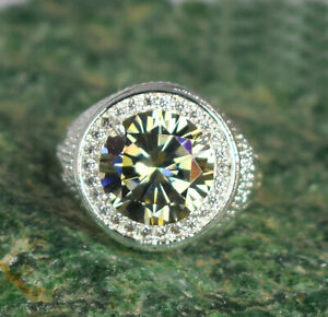 Champagne Diamond Solitaire Men's Ring With Accents 7.63 Ct Stunning Collection