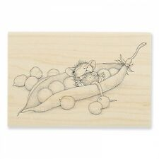 HOUSE MOUSE RUBBER STAMPS PEA POD NAP NEW WOOD STAMP