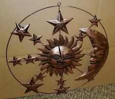 "SUN, MOON AND STARS CLOCK - 21 "" BRONZE FINISH ALL METAL CLOCK"