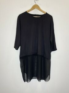 Cos Black Top With Sheer Bottom Panel Size L
