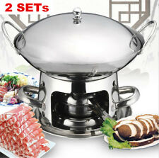 2XStainless Steel Chafing Dish Hotpot Alcohol Stove Heater Buffer Warmer Pans OZ