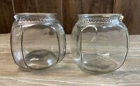 Pair Of Antique Glass Patterson Tuxedo Tobacco Jars Missing Lids