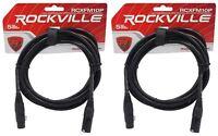 2 Rockville RCXFM10P-B Black 10' Female to Male REAN XLR Mic Cable 100% Copper